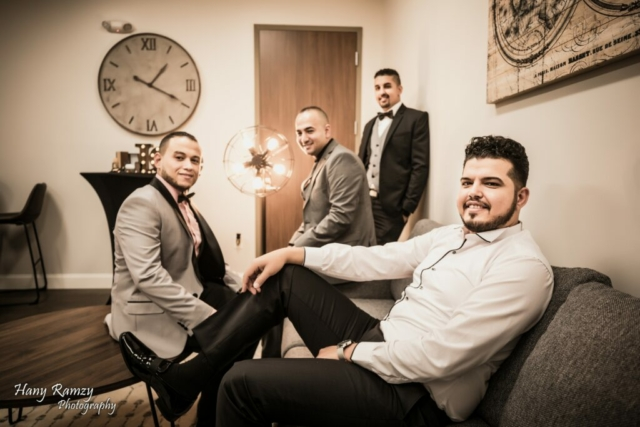 Groom and his gentlemen relaxing in the Grooms Room