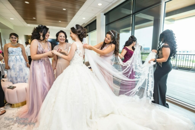 The bride and her ladies getting ready for the big day in the Bridal Suite