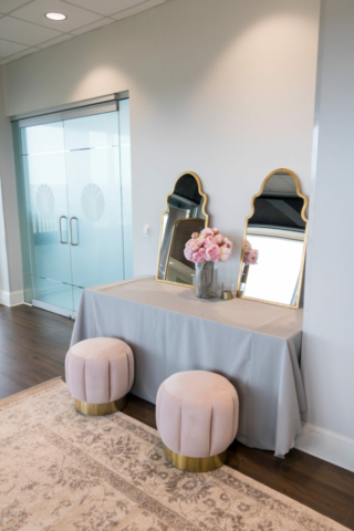 Hair and makeup stations in The Bridal Suite