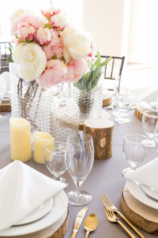 Beautiful place setting and centerpiece