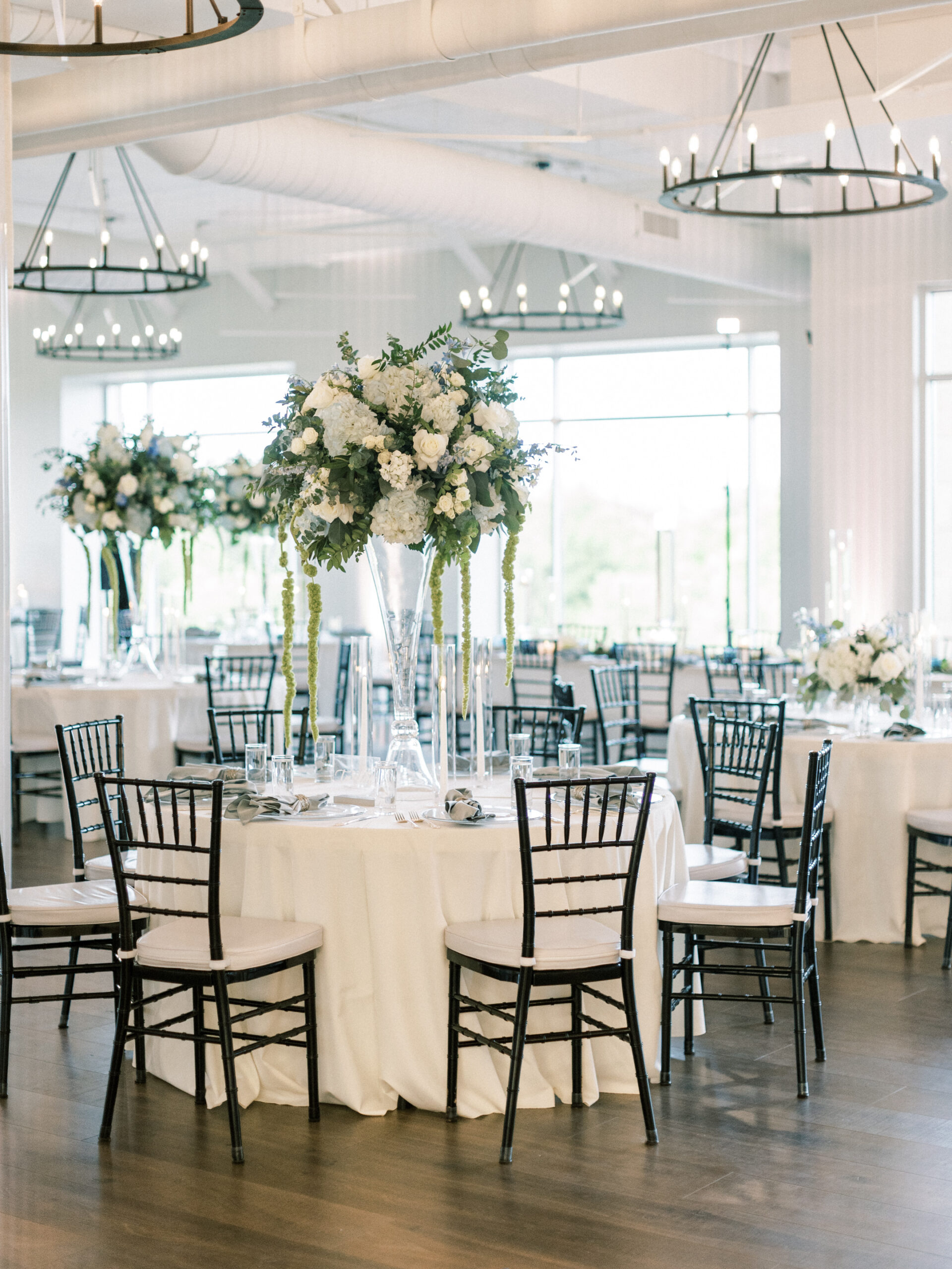 Wedding reception in spacious banquet room